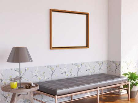 Interior Living Room Photo Frame Mockup. 3D Rendering, 3D illustration. Foto de archivo