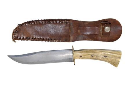 sheath: Hunting knife and sheath on isolated white background Stock Photo