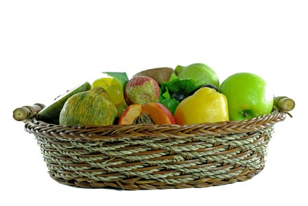 Fruits made of soap on basket, isolated background