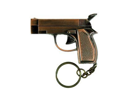 Gun like keyring also lighter isolated Stock Photo