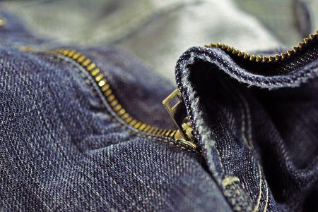 Blue jean zipper close up Stock Photo