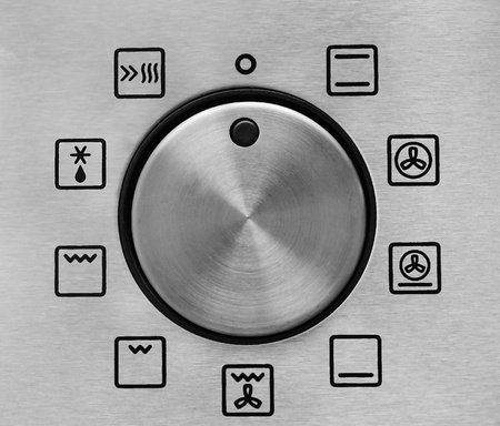 knobs: Oven Settings detail, close up Stock Photo