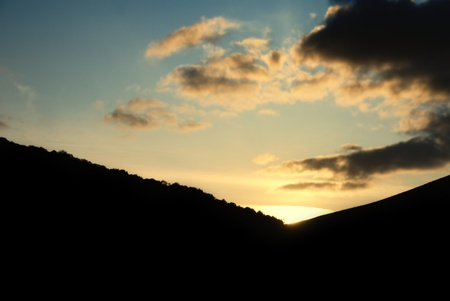 Sunset over the mountains, taken in Istanbul Stock Photo