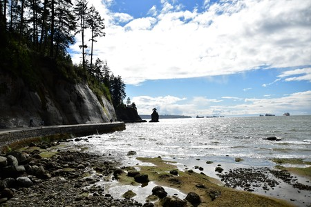 Siwash Rock Stanley park Vancouver BC Canada Reklamní fotografie