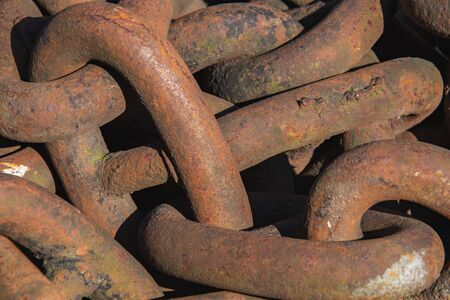 A close up of giant rusty chains. Vancouver BC Canada
