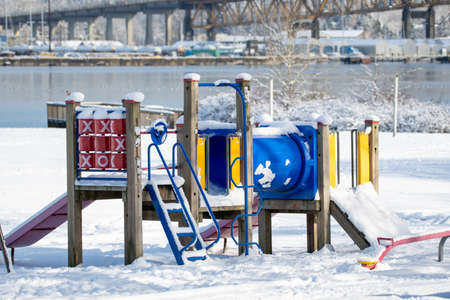 A Playground Structure Covered in Snow Vancouver BC Canada