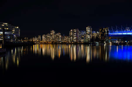A picture of False Creek at night. Vancouver BC Canada