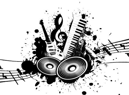 cool wacky grunge Music background with music details photo