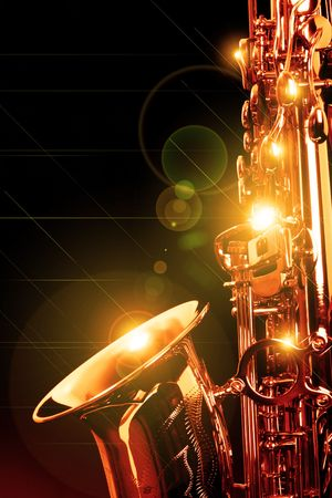 saxophone: picture of a beautiful golden saxophone Stock Photo