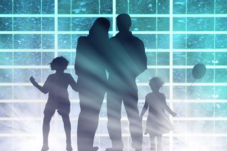 solar panel with family and sunbeam Stock Photo - 4931911