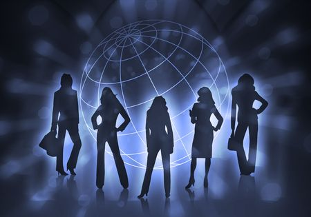world trade: silhouettes of business women