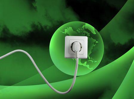 witte aansluiting op een vrije energie van witgeverfde groene wereld Stockfoto