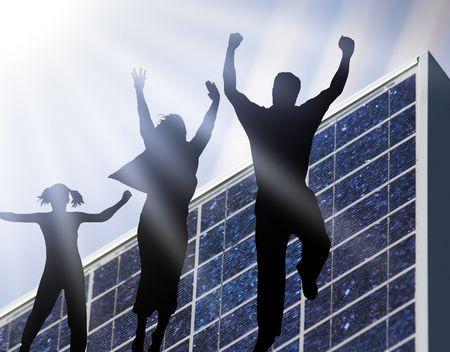 solar panel with blue sky an sunbeam Stock Photo - 4931907