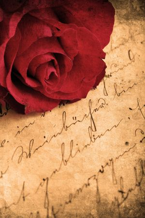 mangy: Retro look of beautiful red rose Stock Photo