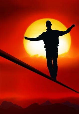 marcheur: funambule, l'artiste est de marcher sur un tighttrope Banque d'images