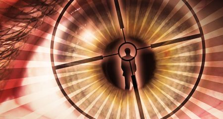 the creator: Pupil of an eye with a silhouette of a man Stock Photo