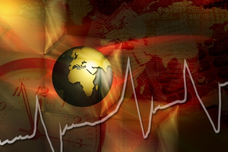 the world in stress with heart beat