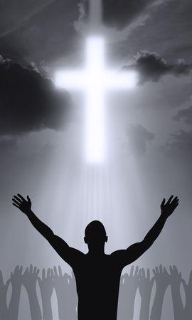 Het kruis van Golgahta - Jezus Christus leeft Stockfoto