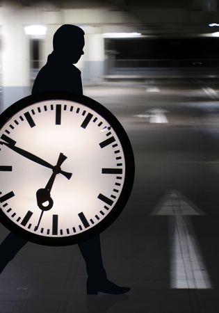 hustle: Tempo Business Persona con orologio in azione Archivio Fotografico