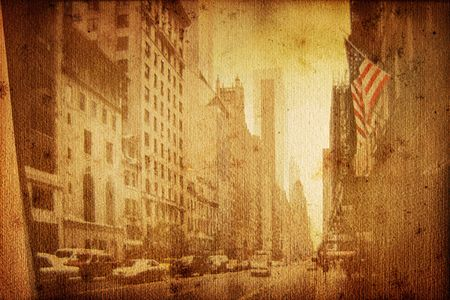 old historical new york background with broadway photo