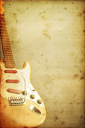 blues: Beautiful guitar on old nostalgic background used look Stock Photo