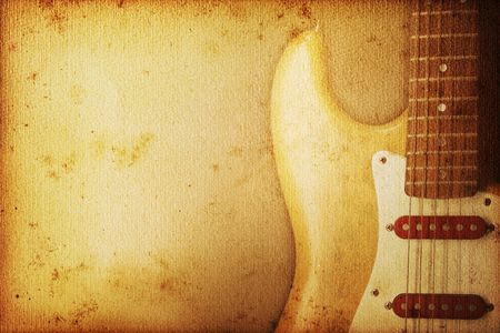 secondhand: Beautiful guitar on old nostalgic background used look Stock Photo