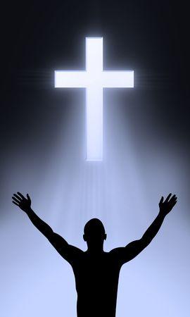 manos levantadas al cielo: La Cruz de Golgahta - Jesucristo est� vivo Foto de archivo