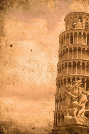 Retro look of the Tower of Pisa