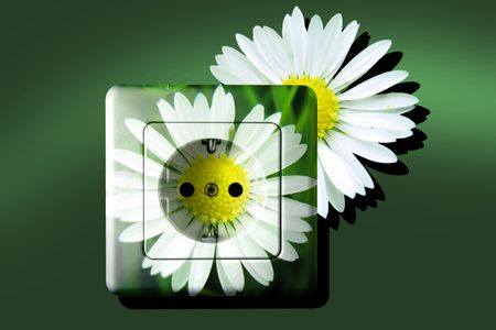 contributor: white socket with green and free energy