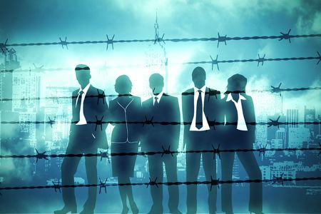 the banking managers behind barbed wire photo