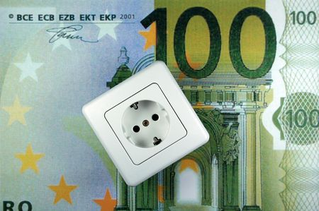 white socket on a Euro bank note photo