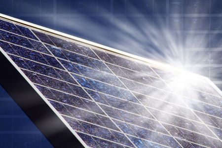 solar panel with blue sky an sunbeam Stock Photo - 4967102