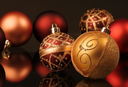any nice golden and red christmas balls Stock Photo - 4967061