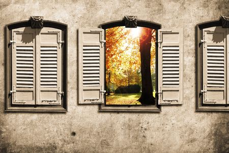 secondhand: old window with wall in retro design look