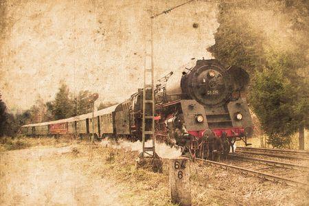old steam locomotive in retro design look photo