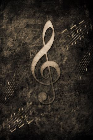 musically: old music notes in retro design look