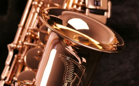 vibrate: picture of a beautiful golden saxophone Stock Photo
