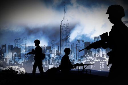 silhouettes of any Soldiers in new york photo