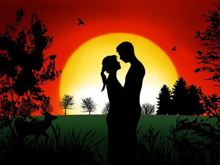 Romántico en pareja de la noche con agradable puesta de sol