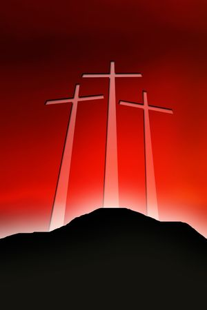 worship white: crosses of golgotha Stock Photo