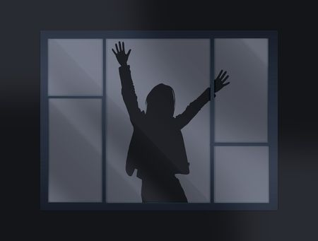 burgler: crying loud help behind the closed window Stock Photo