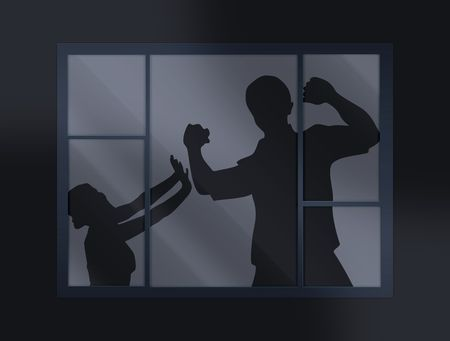 mistreatment: crying loud help behind the closed window Stock Photo