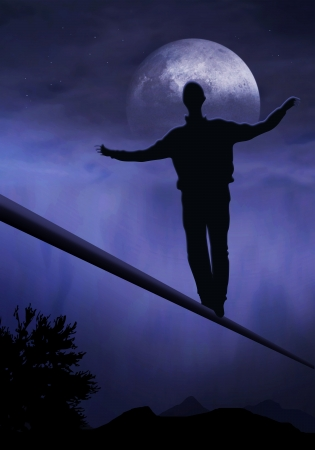 difficult lives: tightrope walker, artist is walking on a tighttrope