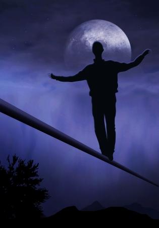 gehhilfe: Tightrope Walker, ist Fu�, K�nstler auf eine tighttrope