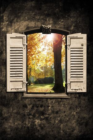 opened: old window with wall in retro design look