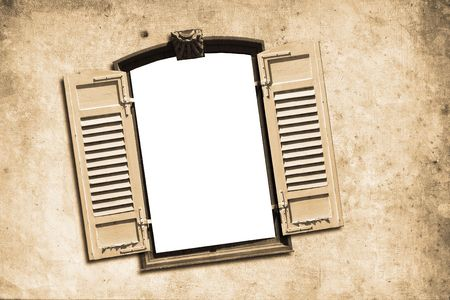 shutter: old window with wall in retro design look