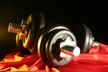 dumbbell with black heavy weights Stock Photo - 4939108