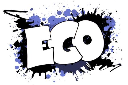 colorfully: The word EGO as a grungy colorfully painting