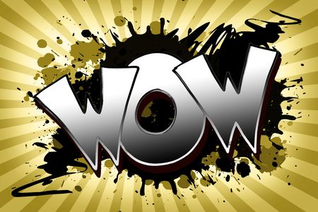 The word wow as a grungy colorfully painting Stock Photo