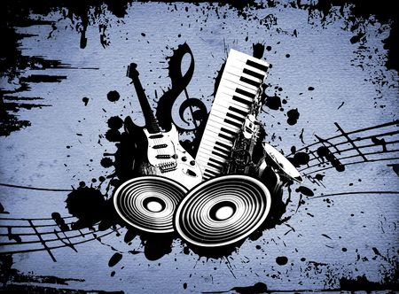 cool wacky grunge Music background with music details Stock Photo - 4939280